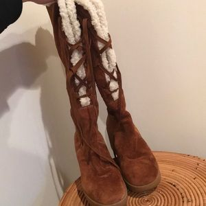Michael Kors suede lace up wedges boots